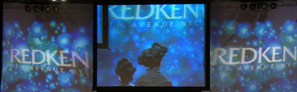 Screens and displays for Redken fashion event management.
